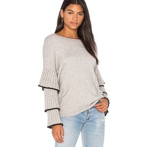 Central Park West Ruffle Sweater Grey L REVOLVE